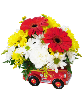 Lights And Sirens Flower Arrangement