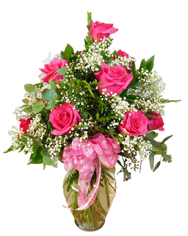 Dozen Hot Pink Roses Premium Flower Arrangement