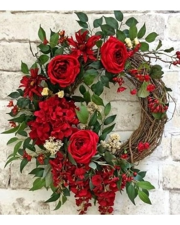 Luscious Red Door Wreath Wreath