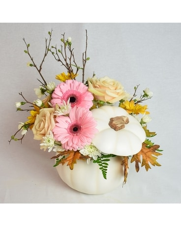 Cinderella White Pumpkin Flower Arrangement