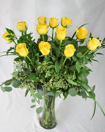 Dozen Long Stem Yellow Flower Arrangement