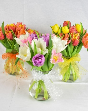 Water Jar of Tulips Flower Arrangement