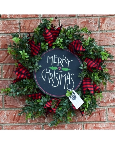 Wreath: Buffalo Plaid and Holly Wreath