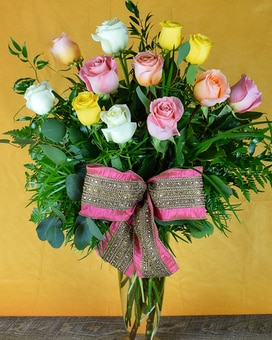 Spring Dozen Roses Flower Arrangement