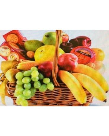 Deluxe fruit and cheese cracker basket Flower Arrangement