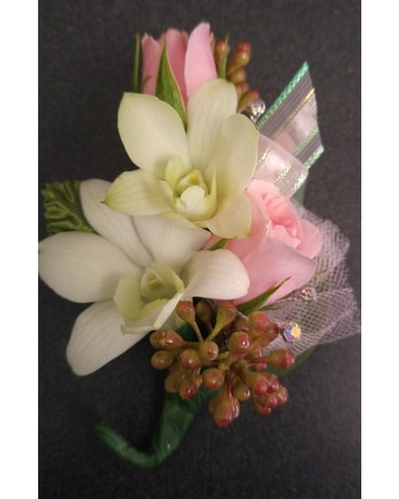 Rose and Orchid Boutonniere Flower Arrangement