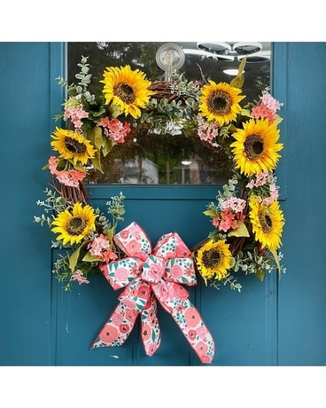 Artificial Door Wreath - Sunflower