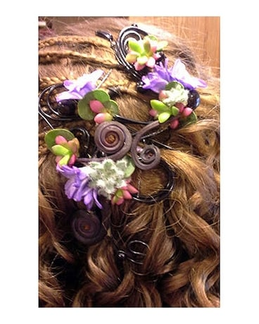 Echeveria and Purple headpiece Flower Arrangement