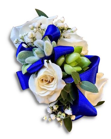 Dessert Blue Wristlet Flower Arrangement
