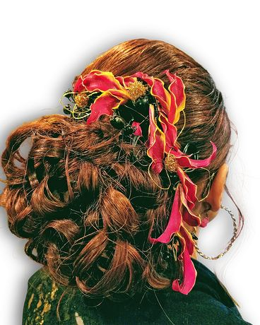 Glorious Gloriosa Hairpiece Flower Arrangement