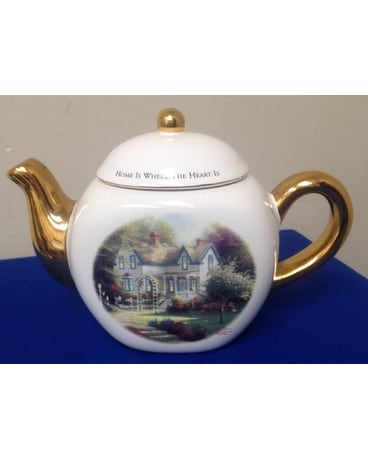 Thomas Kinkade Home Teapot Flower Arrangement