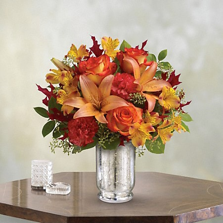 Autumn Bouquet in Silver Cup