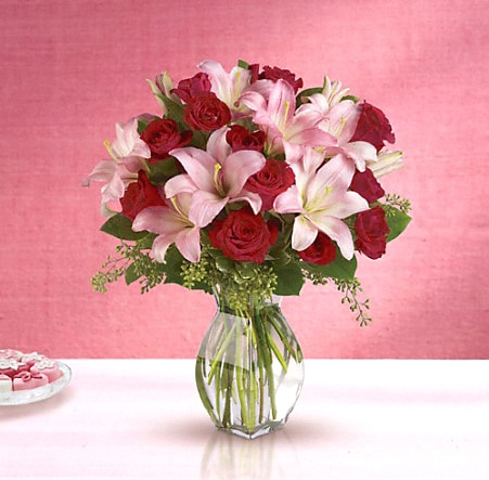 Red Roses and Pink Lilies