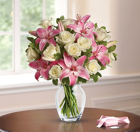 Pink and White Vased Bouquet