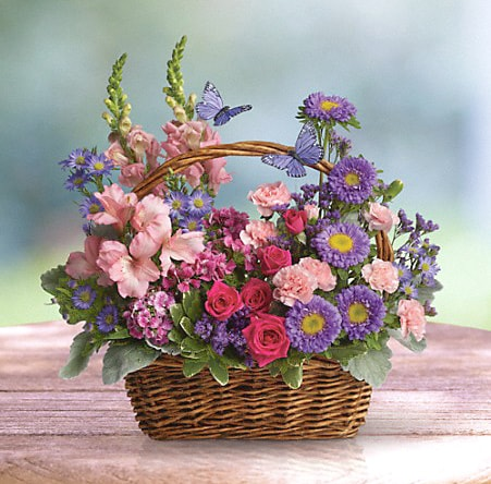 Lavender and Pink Basket Bouquet