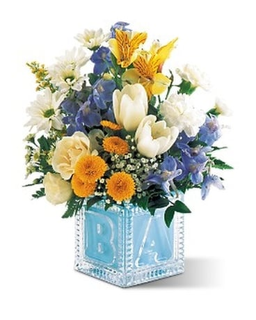Teleflora's Baby Block (Boy) Flower Arrangement