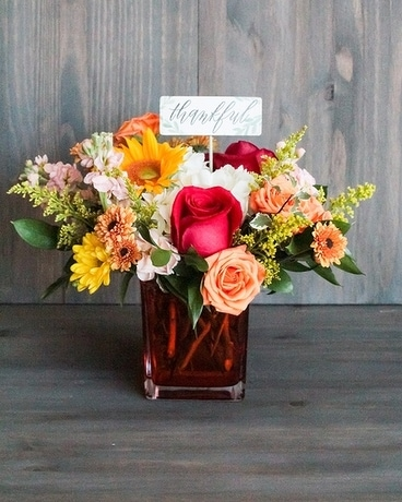 Fall Cube Flower Arrangement