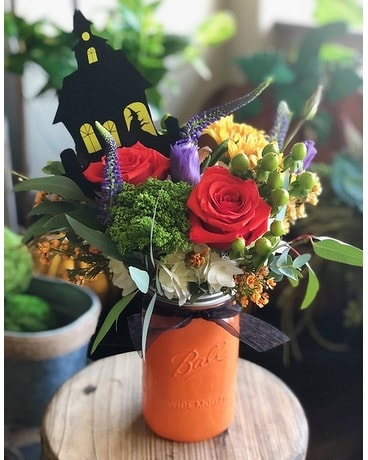 Spook-tacular Witch Mason Flower Arrangement