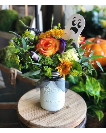 Spook-tacular Ghost Mason Jar Flower Arrangement
