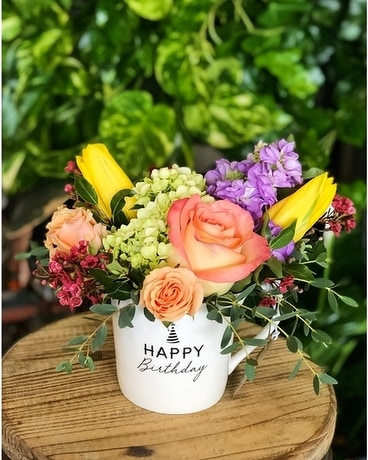 Seasonal Cafe Mug Bouquet Flower Arrangement