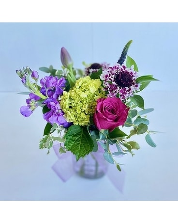 Purple Jar Bouquet Flower Arrangement