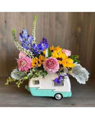 Vintage Camper Bouquet Flower Arrangement