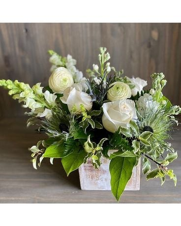 White Garden Box Flower Arrangement