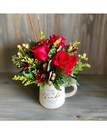 Cup of Thanks Mug Flower Arrangement