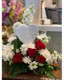 Heaven's Heart With Red Roses Sympathy Arrangement