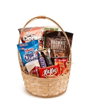 Snack & Candy Basket Flower Arrangement