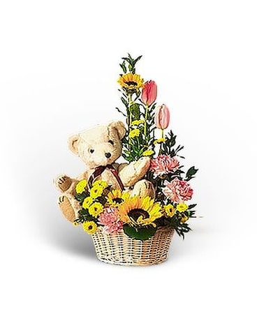 Basket Of Bear with Blooms Flower Arrangement