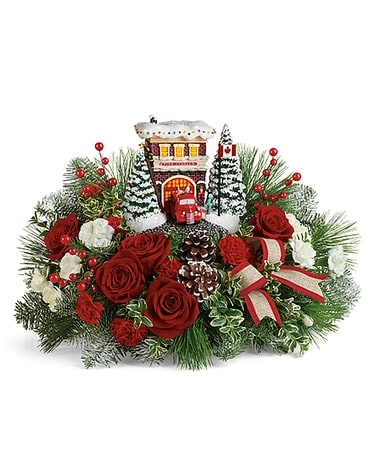 Thomas Kinkade's Festive Fire Station Bouquet Flower Arrangement
