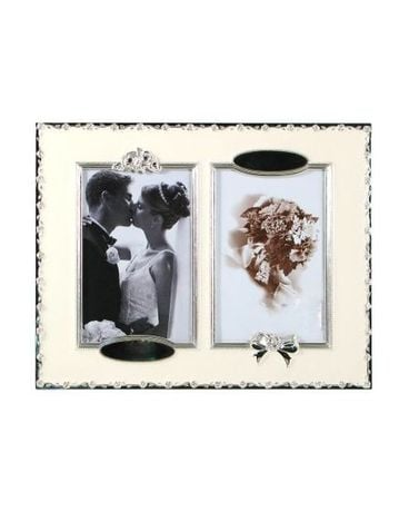 Engravable Picture Frame with Silver Accents Flower Arrangement