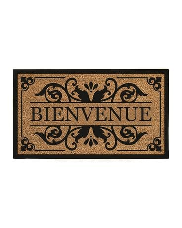 Bienvenue Door Mat Flower Arrangement