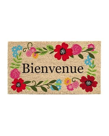 Flower Bienvenue Door Mat Flower Arrangement