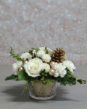 Golden Pine by Blooms on Boswell Flower Arrangement