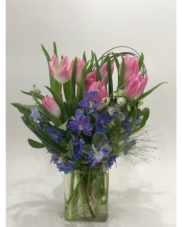 Pink and Blue Serenade Flower Arrangement