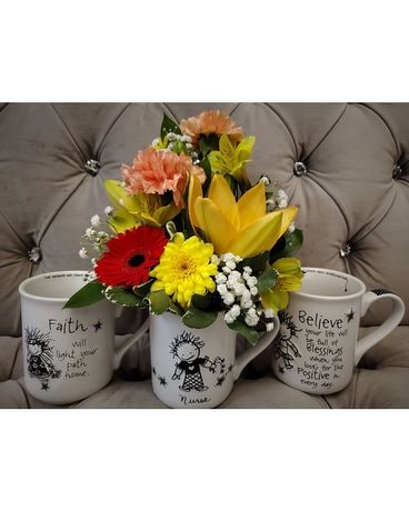 Nurse Mug Arrangement Flower Arrangement