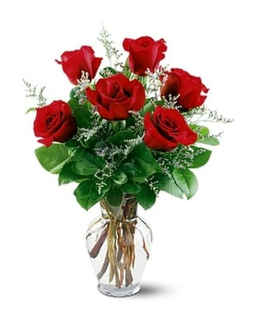 Six Red Roses Flower Arrangement