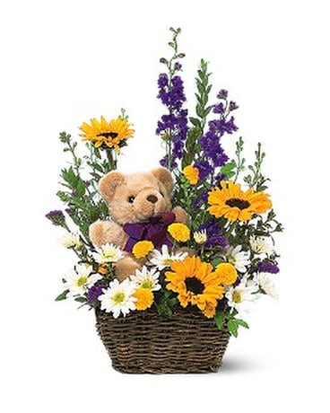 Basket & Bear Arrangement - Flower Arrangement