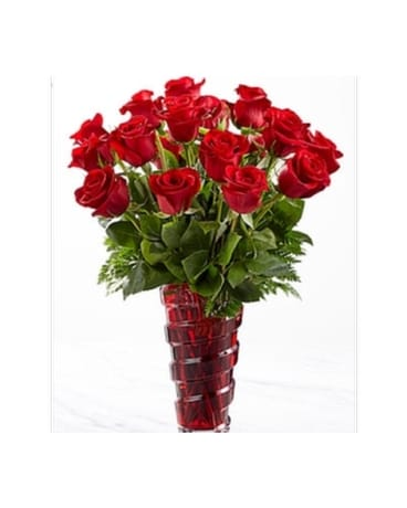 Modern Red Rose Vase Flower Arrangement