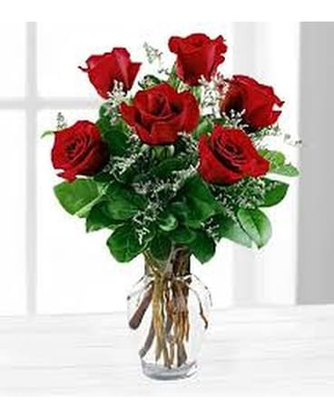 6 Red Rose Vase Flower Arrangement