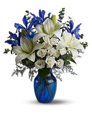 Blue Horizons by Petals & Stems (TFWEB488) Flower Arrangement
