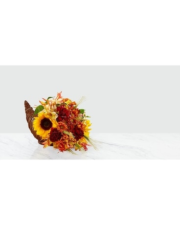 Fall Harvest Cornucopia Flower Arrangement
