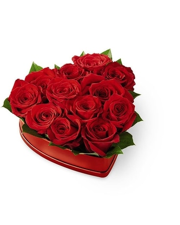 FTD Lovely Red Rose Heart Box Flower Arrangement