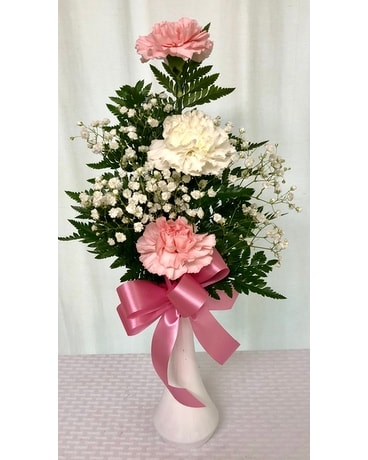 Triple Hugs Carnation Budvase In Titusville Fl Floral Creations By