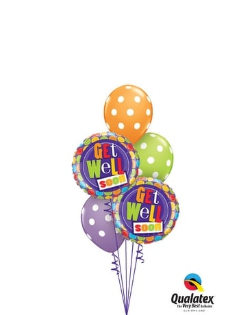 Polka Dot Get Well Balloon Bouquet