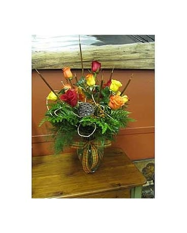 Fall Roses Flower Arrangement