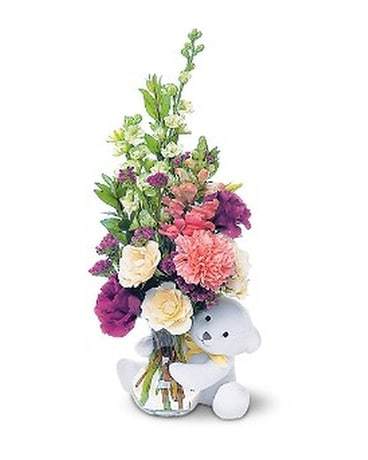 Teleflora's Bear Hug bear with White Roses Flower Arrangement