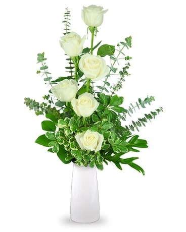 6 White Roses Arranged Flower Arrangement